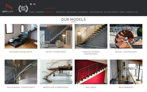Screenshot of Products Page pmscale.com - PM stairs - spiral stairs, spiral staircase and balustrades, first-rate Italian stairs - captured Sept. 26, 2018