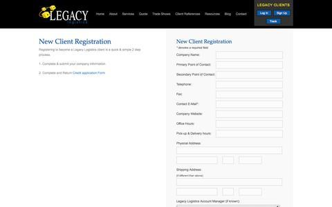 Screenshot of Signup Page shiplegacy.com - New Client Registration - Legacy Logistics - captured Oct. 2, 2014
