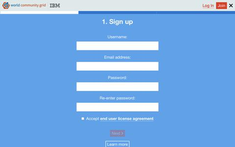 Screenshot of Signup Page worldcommunitygrid.org - IBM World Community Grid - captured June 21, 2017