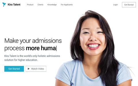 Screenshot of Home Page kiratalent.com - Kira Talent - Admissions software that makes assessing applicants smarter - captured March 14, 2018
