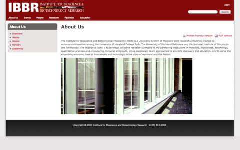 Screenshot of About Page umd.edu - About Us | Institute for Bioscience and Biotechnology Research - captured Sept. 17, 2014