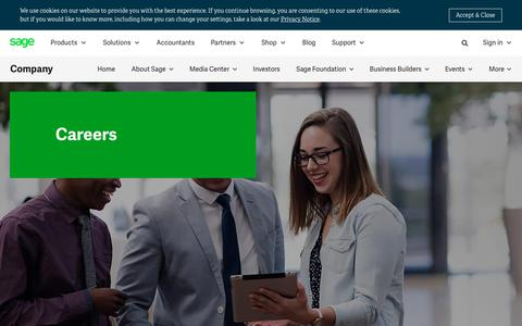 Screenshot of Jobs Page sage.com - Job Vacancies & Careers | Sage South Africa - captured July 17, 2019