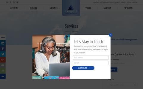 Screenshot of Services Page pinnacleadvisory.com - Services | Pinnacle Advisory Group -- The Wealth Management Advisors - captured Sept. 28, 2018