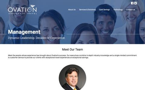Screenshot of Team Page ovationtravel.com - Management | About Us | Ovation Corporate Travel - captured Feb. 15, 2016