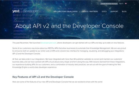 Screenshot of Developers Page yext.com - About API v2 and the Developer Console - Yext Developer Portal - captured Jan. 3, 2019
