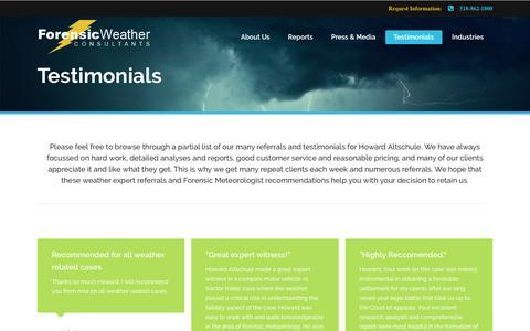 Screenshot of Testimonials Page weatherconsultants.com - Testimonials | Forensic Weather Consultants - captured Nov. 25, 2016