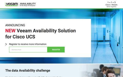 Screenshot of Landing Page veeam.com - New Veeam Availability Solution for Cisco UCS - captured Dec. 6, 2016