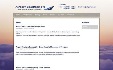Screenshot of Press Page airportsol.com - News - Airport Solutions Ltd - captured Feb. 5, 2016