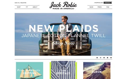 Screenshot of Home Page jackrobie.com - Jack Robie: Luxury, Ready-to-Wear Men's Shirts. Made in the USA - captured Sept. 16, 2014