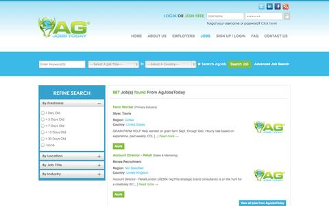 Screenshot of Jobs Page agjobstoday.com - Latest agricultural jobs, farming sector, fresher jobs & career tips - captured Sept. 30, 2014