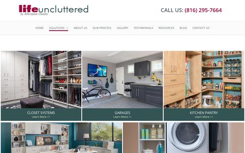 Screenshot of Products Page lifeuncluttered.com - Storage Solutions | Closet Organization | Closet Design & Installation | Kansas City | Life Uncluttered - captured July 19, 2018