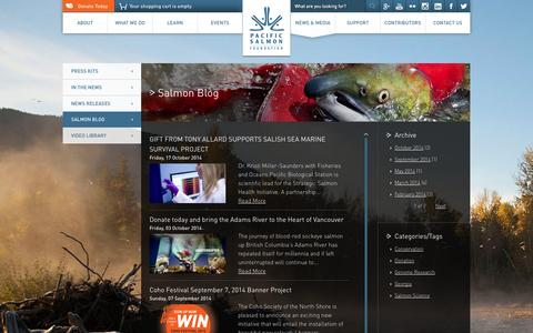 Screenshot of Blog psf.ca - Salmon Blog   Pacific Salmon Foundation - captured Nov. 1, 2014