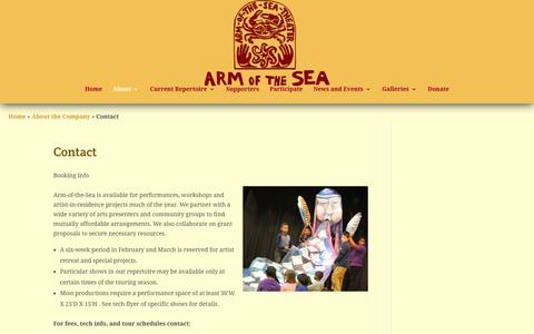 Screenshot of Contact Page armofthesea.org - Contact - Arm-of-the-Sea Theater - captured March 10, 2016