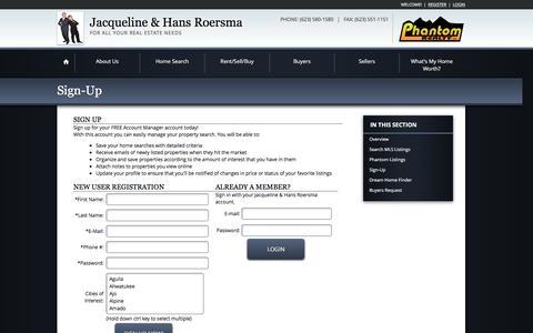 Screenshot of Login Page phantomrealty.com - Real Estate Website Registration - captured Dec. 8, 2015