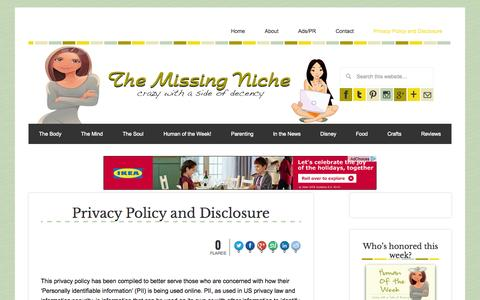 Screenshot of Privacy Page themissingniche.com - Privacy Policy and Disclosure - The Missing Niche - captured Nov. 4, 2014