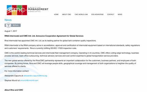 Screenshot of Press Page cmcintl.com - News – CMC International - captured Sept. 25, 2018