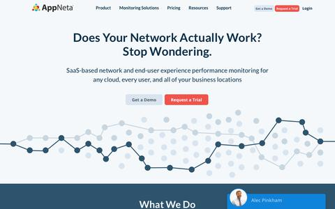 Screenshot of Home Page appneta.com - End-User Experience & Network Performance Monitoring | AppNeta - captured Feb. 2, 2018