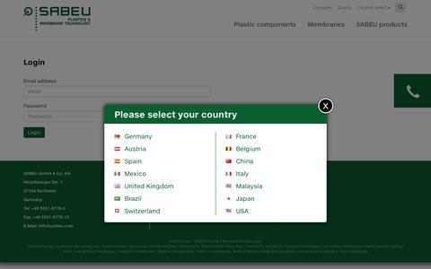 Screenshot of Login Page sabeu.com - Login - SABEU Plastik & Membran Technologie - captured July 20, 2016