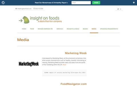 Screenshot of Press Page insightonfoods.com - Media - Insight on Foods Ltd- a Davis-Thornton company - captured Sept. 30, 2014