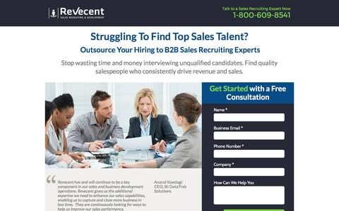 Screenshot of Landing Page revecent.com - B2B Sales Recruiting Experts - captured March 20, 2017