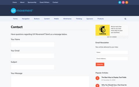 Screenshot of Contact Page uxmovement.com - Contact - UX Movement - captured Dec. 12, 2018