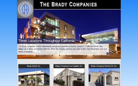 Screenshot of Home Page brady.com - The Brady Companies - California Subcontractor - Framing, Drywall, Plaster, EIFS, Doors, Ceilings - captured Nov. 28, 2016