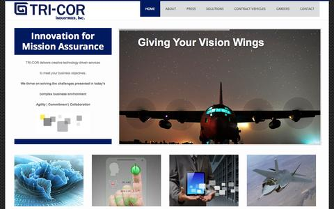 Screenshot of Home Page tricorind.com - TRI-COR Industries - captured Oct. 9, 2014