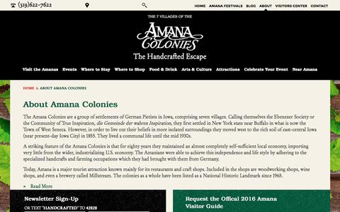 Screenshot of About Page Login Page amanacolonies.com - Amana Colonies - A Rich Historical Site In Iowa - captured Feb. 6, 2016
