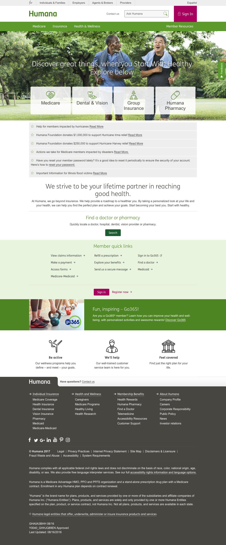 Web Design Example | A page on humana com | Crayon