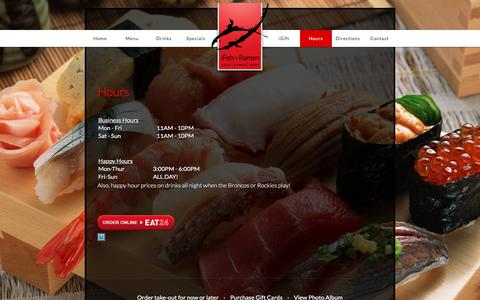 Screenshot of Hours Page ifishdenver.com - iFish+Ramen Japanese Grill and Sushi Bar in Denver, CO - captured Oct. 16, 2017