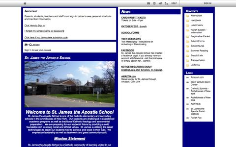Screenshot of edline.net - St. James the Apostle School: Home Page - captured Oct. 3, 2015