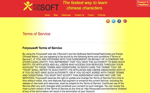 Screenshot of Terms Page foryousoft.com - Terms of Service. - captured Sept. 30, 2014
