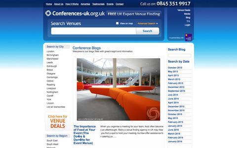 Screenshot of Blog conferences-uk.org.uk - Conference Blogs  | Conference Venues UK - captured July 15, 2016