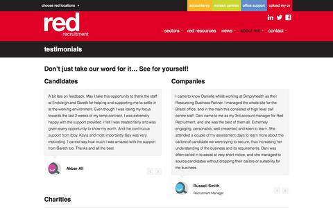 Screenshot of Testimonials Page red-recruitment.com - Testimonials - Red Recruitment - Recruitment Agency Cardiff & Bristol - captured Sept. 21, 2018