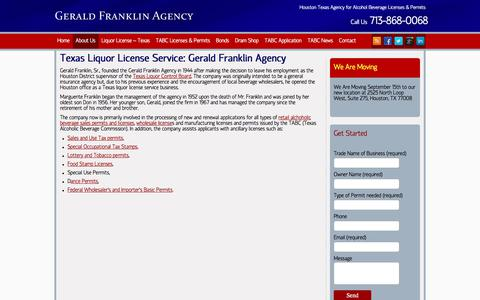 Screenshot of About Page geraldfranklinagency.com - Texas Beer Wine Liquor Permits | Alcohol License Service - captured July 13, 2018