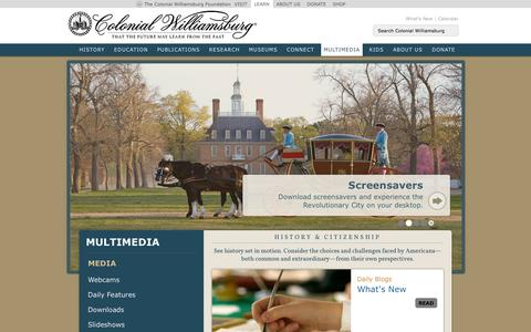 Screenshot of Press Page history.org - Colonial Williamsburg Multimedia : History.org : The Colonial Williamsburg Foundation's official History and Citizenship site - captured Sept. 25, 2014