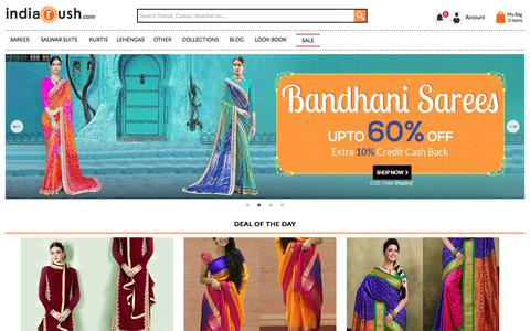 Screenshot of Home Page indiarush.com - Online Shopping Site For Women Apparel, Sarees, Suits, Lehengas, Jewellery, Western Wear - Indiarush - captured July 20, 2017