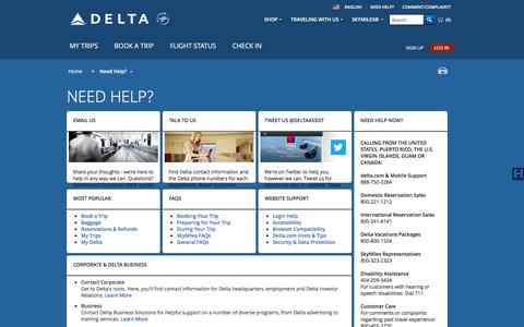 Screenshot of Support Page delta.com - Need Help? : Delta Air Lines - captured Dec. 11, 2015