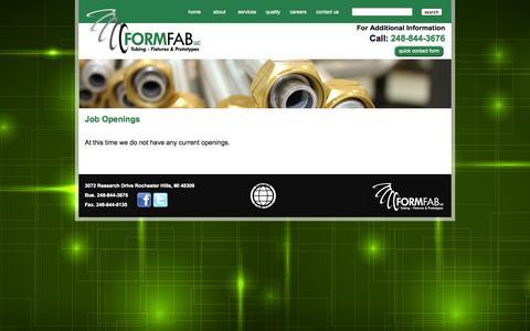 Screenshot of Jobs Page formfabllc.com - FORM FAB LLC | Tubing - Fixtures & Prototypes - captured Sept. 30, 2014