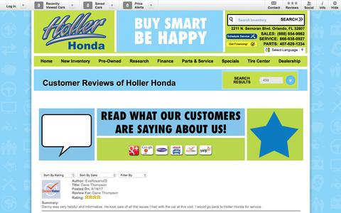 Screenshot of Testimonials Page hollerhonda.com - Holler Honda | New Honda dealership in Orlando, FL 32807 - captured Aug. 24, 2017
