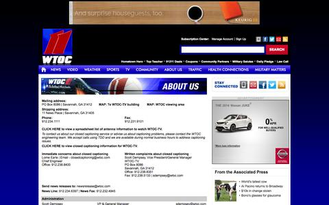 Screenshot of About Page Contact Page wtoc.com - WTOC-TV: Contact info for Channel 11 in Savannah, GA - WTOC-TV: Savannah, Beaufort, SC, News, Weather & Sports - captured Oct. 26, 2014
