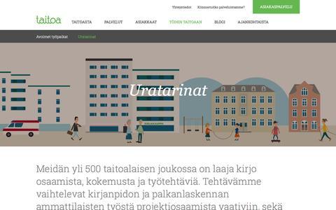Screenshot of Jobs Page taitoa.fi - Taitoa Uratarinat - Taitoa - captured Feb. 12, 2016
