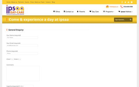Screenshot of Signup Page ipsaa.in - Experience A Day At ipsaa Day Care Centre In Gurgaon - captured Sept. 19, 2014