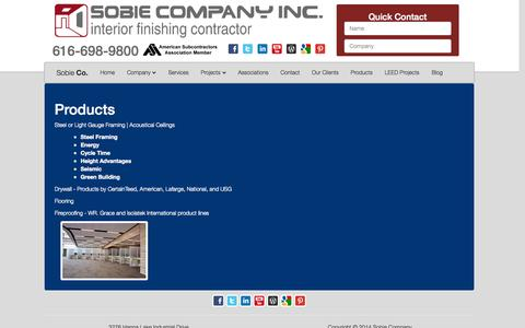 Screenshot of Products Page sobieco.com - Sobie Company: Best Contracting Services - Dutton, MI | Our Products - captured Oct. 7, 2014