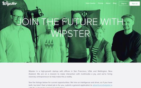 Screenshot of Jobs Page wipster.io - Careers | Wipster - captured Sept. 17, 2014