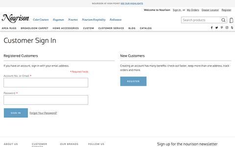 Screenshot of Login Page nourison.com - Customer Sign In - captured Nov. 30, 2019