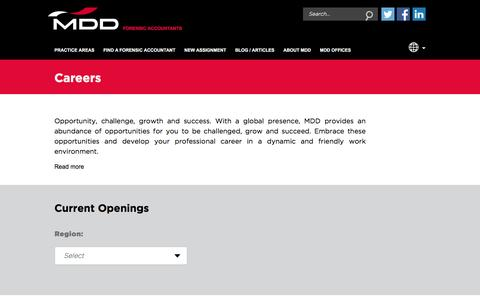 Screenshot of Jobs Page mdd.com - Work for Forensic Accountants   MDD Forensic Accountants - captured Nov. 18, 2016
