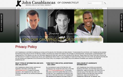 Screenshot of Privacy Page johncasablancasct.com - Privacy Policy | John Casablancas Modeling | Hartford, CT - captured Feb. 11, 2016