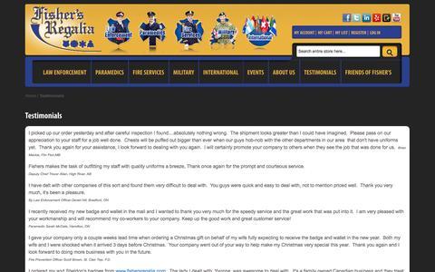 Screenshot of Testimonials Page fishersregalia.com - Testimonials - captured Oct. 6, 2014