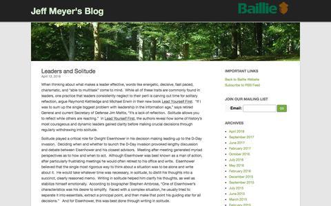 Screenshot of Blog baillie.com - Leaders and Solitude - Jeff Meyer's Blog - captured April 16, 2018